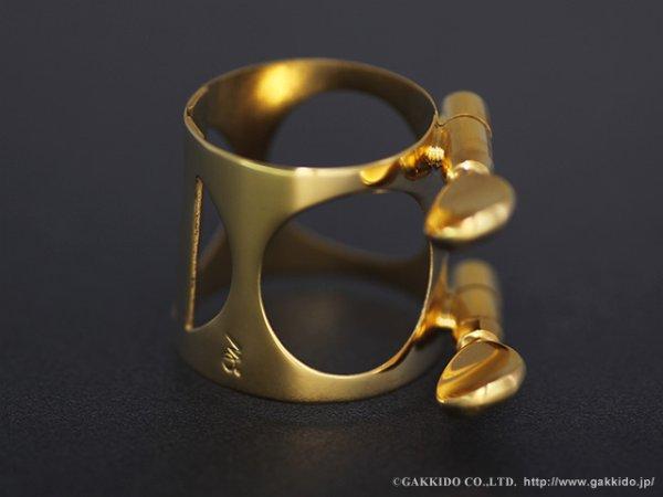 画像1: MOMOLIGA アルトサックス用リガチャー 対応:セルマー・ラバー 真鍮製 ひし型 金メッキ仕上げ (1)